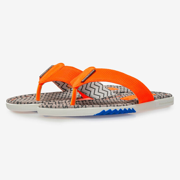 Orange suede leather thong slipper with print