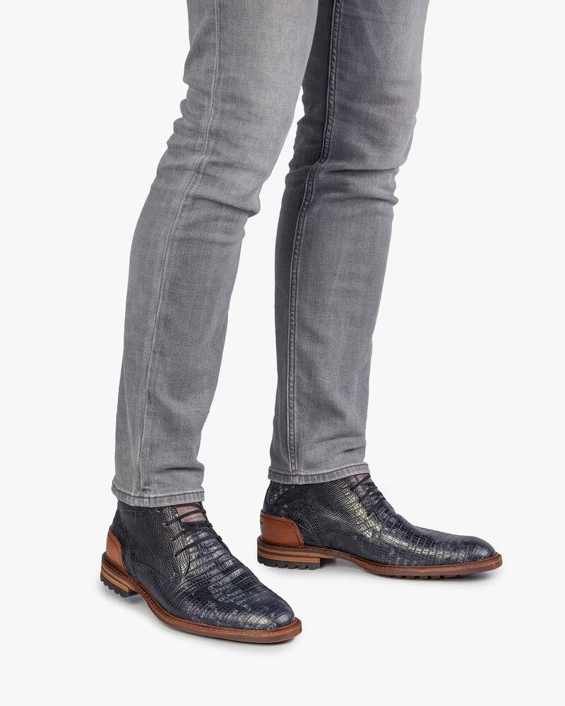 Crepi Stiefel Eidechsenprint grau