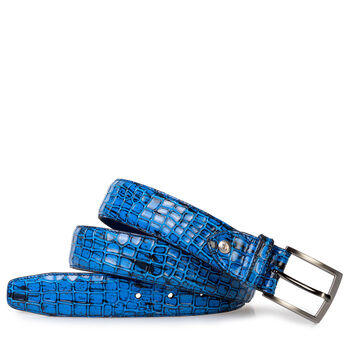Belt patent leather blue