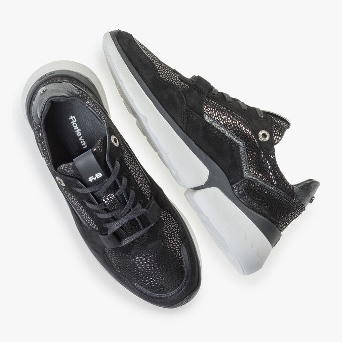 Black suede leather sneaker with metallic print