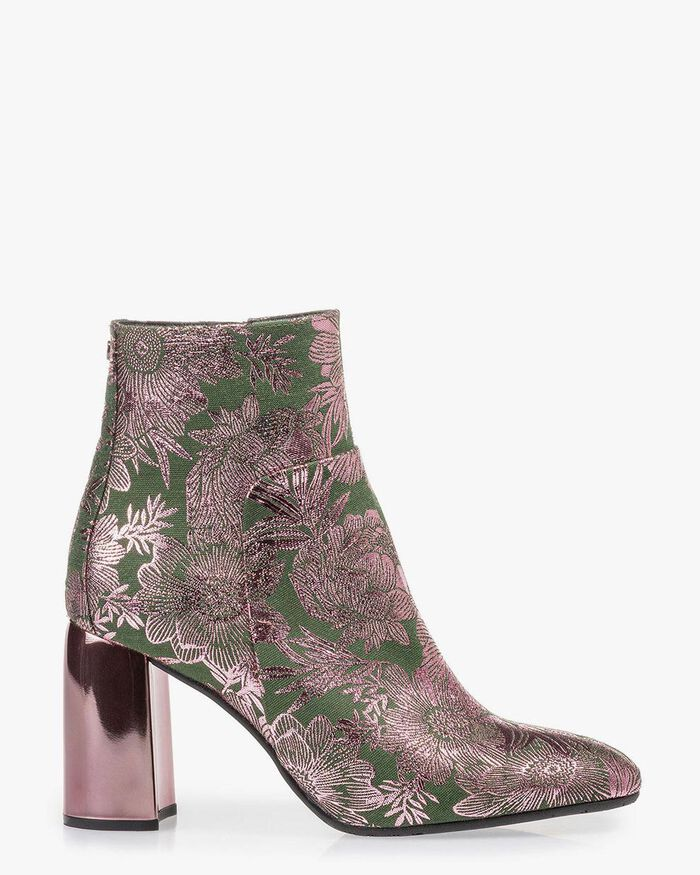 Ankle boot green with print