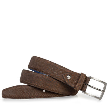 Suede leather belt with print cognac