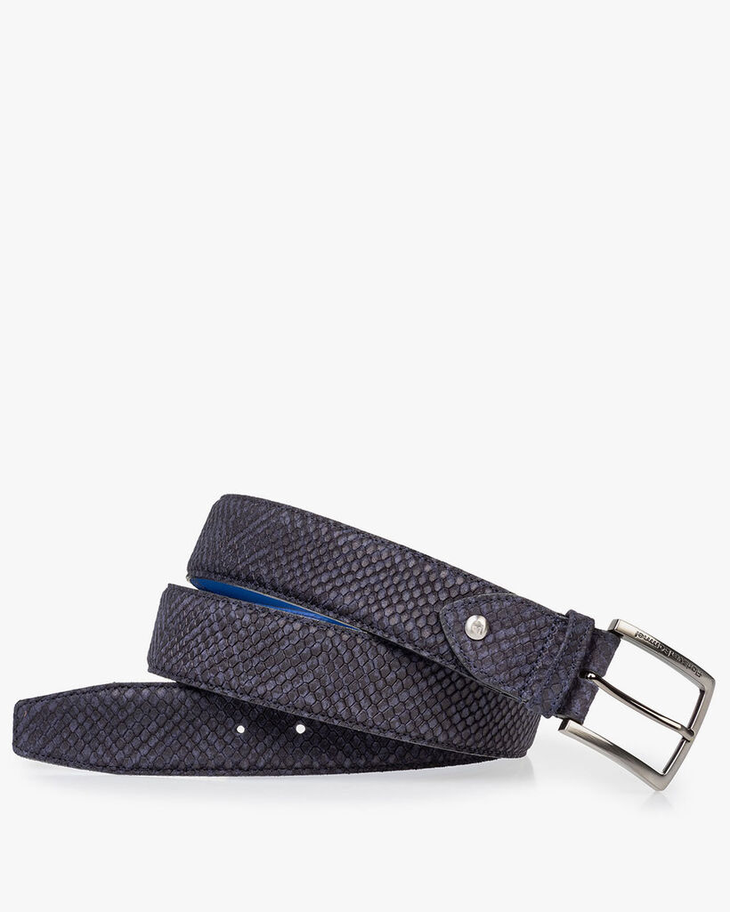 Suede leather belt blue print