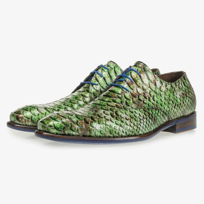 Green patent leather snake print lace shoe