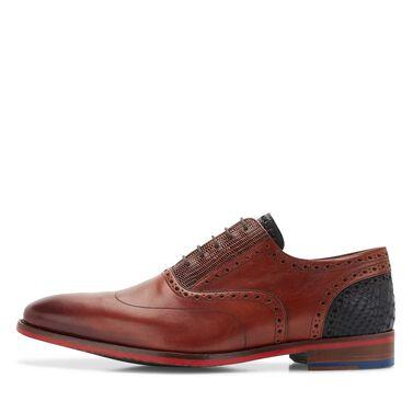 Leder-Schnürschuh mit rote Sohle