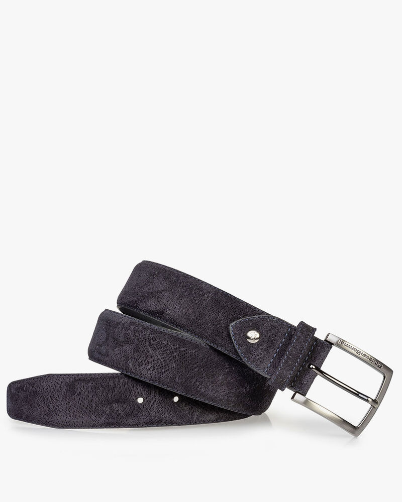 Suede leather belt dark blue