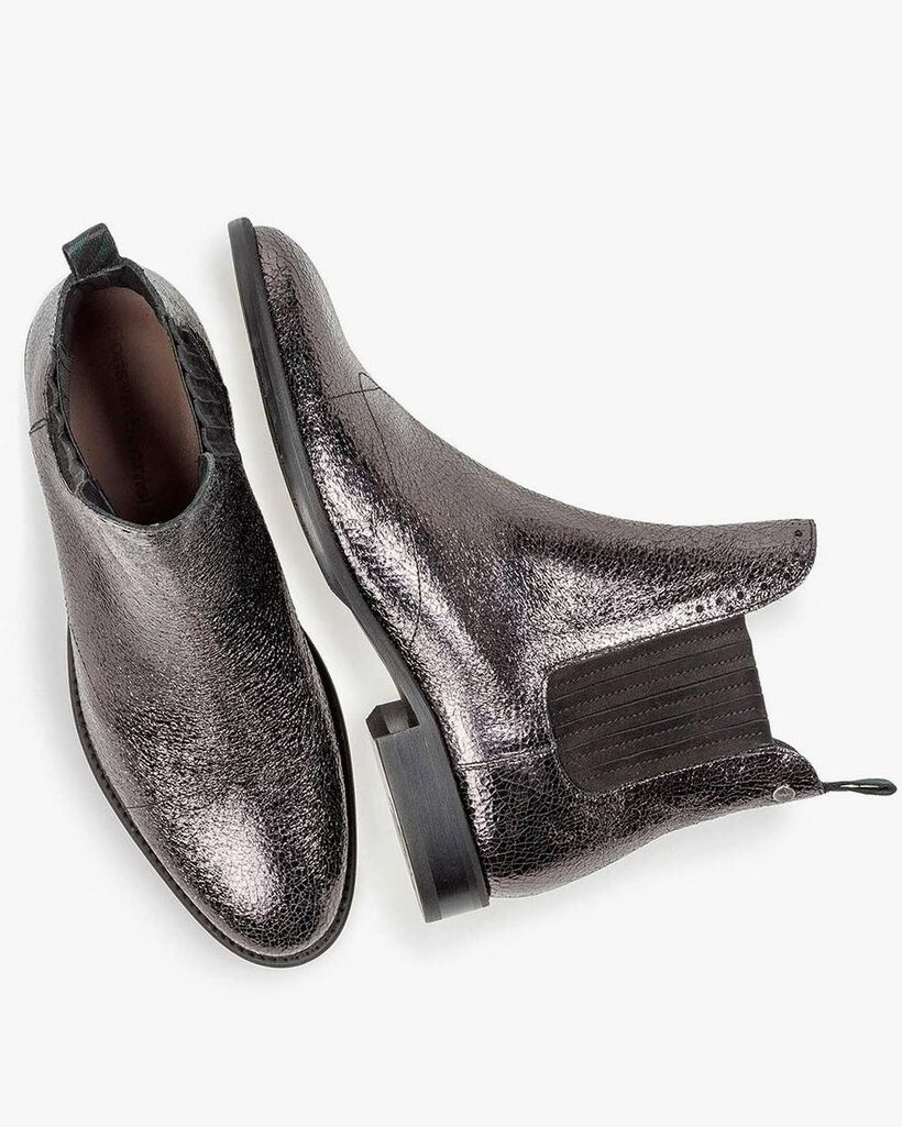 Dunkelsilberner Leder Chelsea Boot mit Metallic-Print