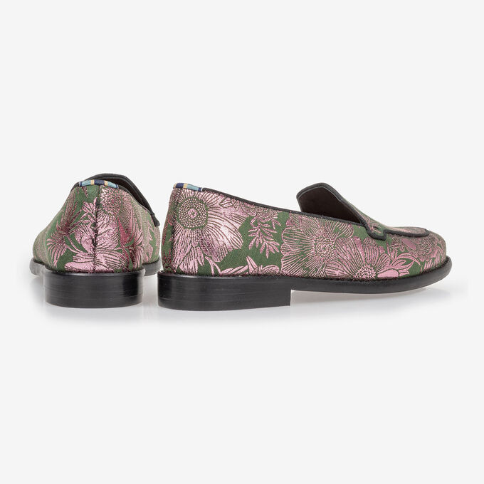 Loafer green suede leather with print