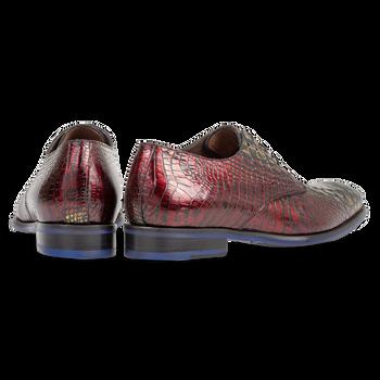 Schnürschuh rotes Krokoleder