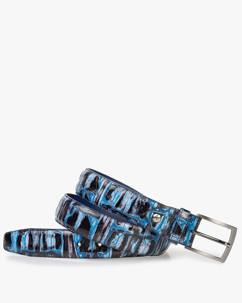 Gürtel Krokoprint blau