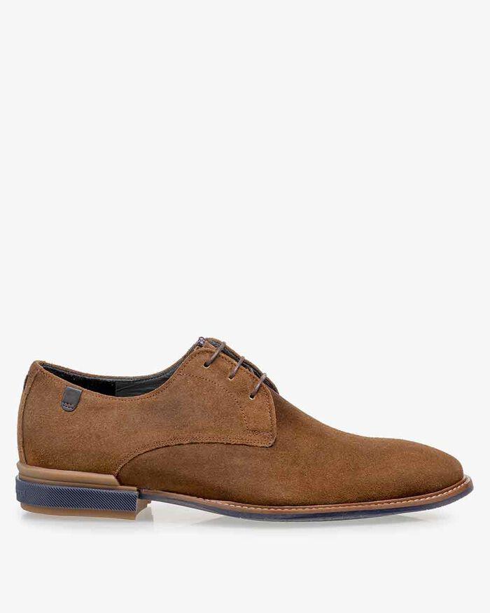 Lace shoe cognac suede leather