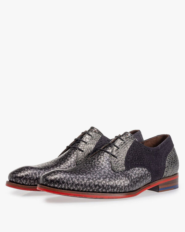 Lace shoe grey metallic