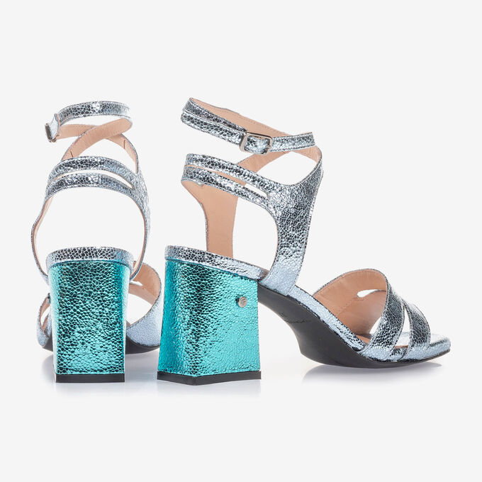 High-heeled sandals with light blue metallic print