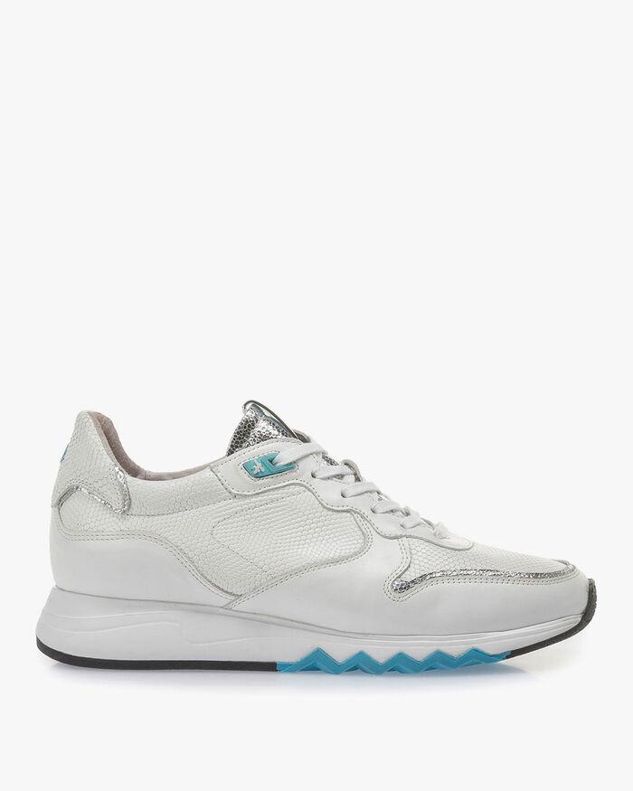 Weißer Kalbsleder-Sneaker mit blauen Details