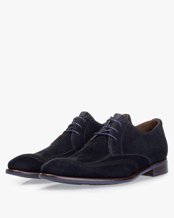 Lace shoe suede dark blue