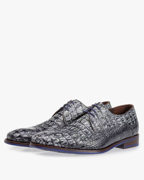 Lace shoe croco print grey
