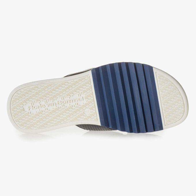 Blue printed leather slipper