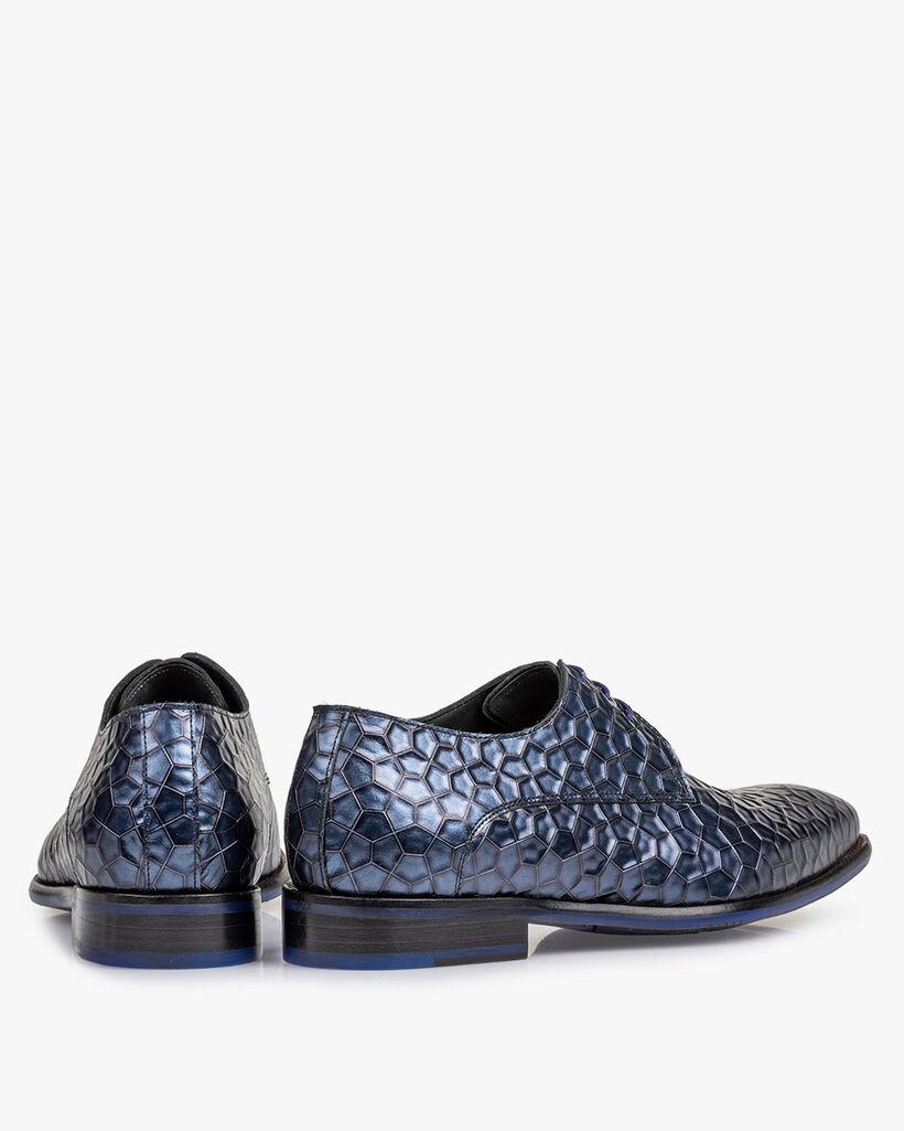 Lace shoe metallic print blue