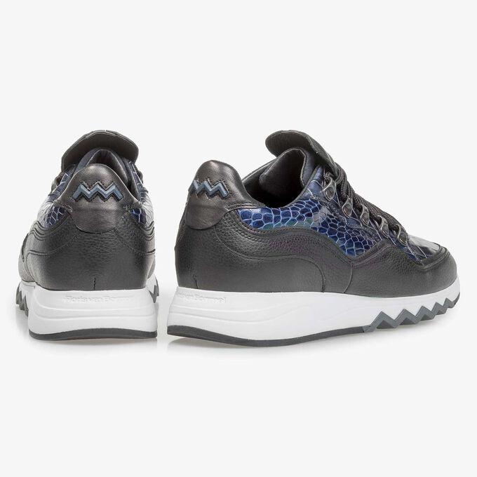 Blauer Premium Metallic-Leder-Sneaker mit Print