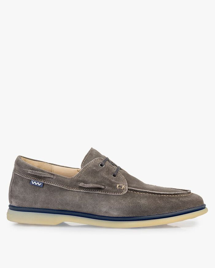 Boat shoe suede leather dark grey