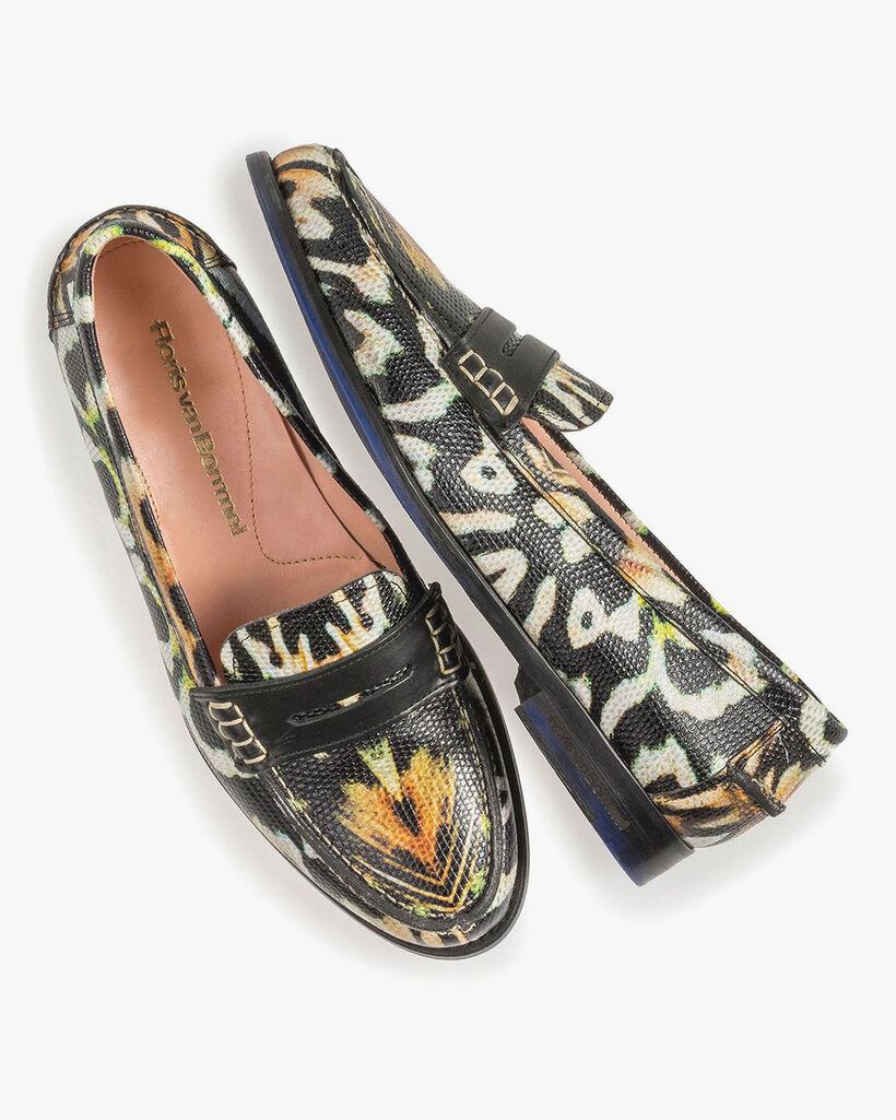Black leather loafer print