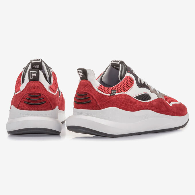 Multi-colour red and white suede leather
