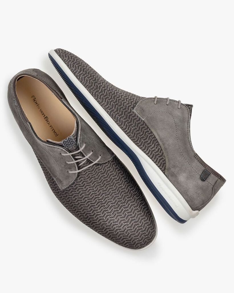 Lace shoe printed nubuck leather taupe