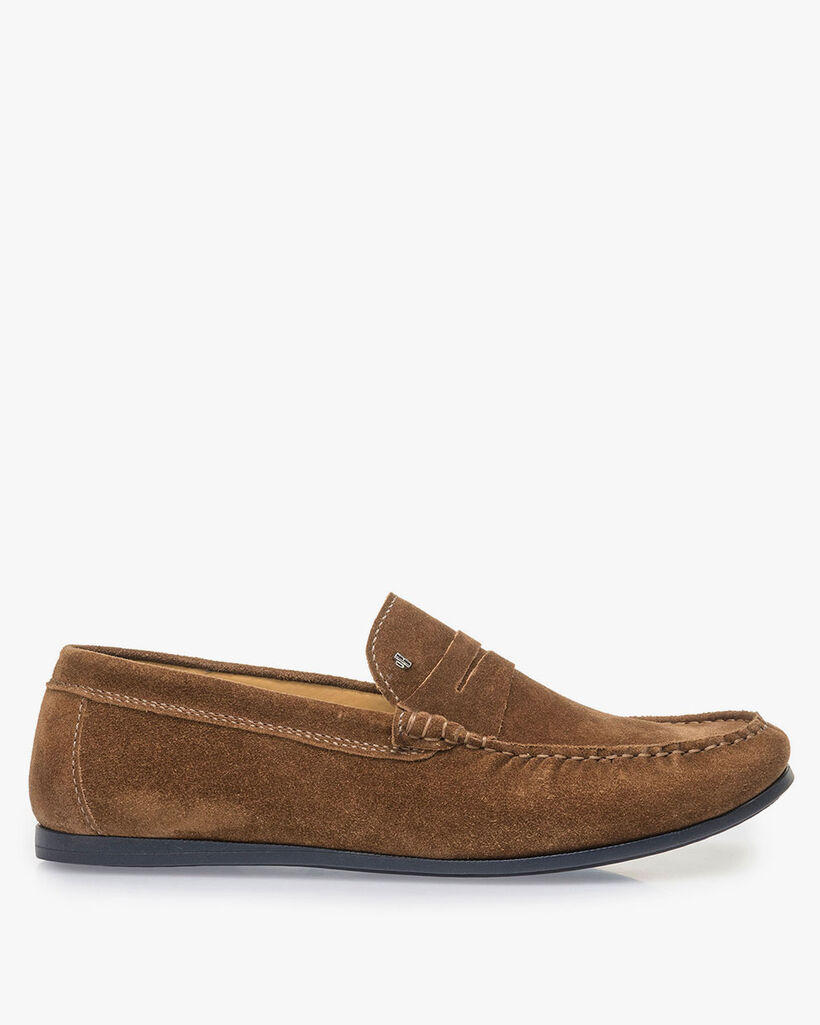 Brown suede leather loafer