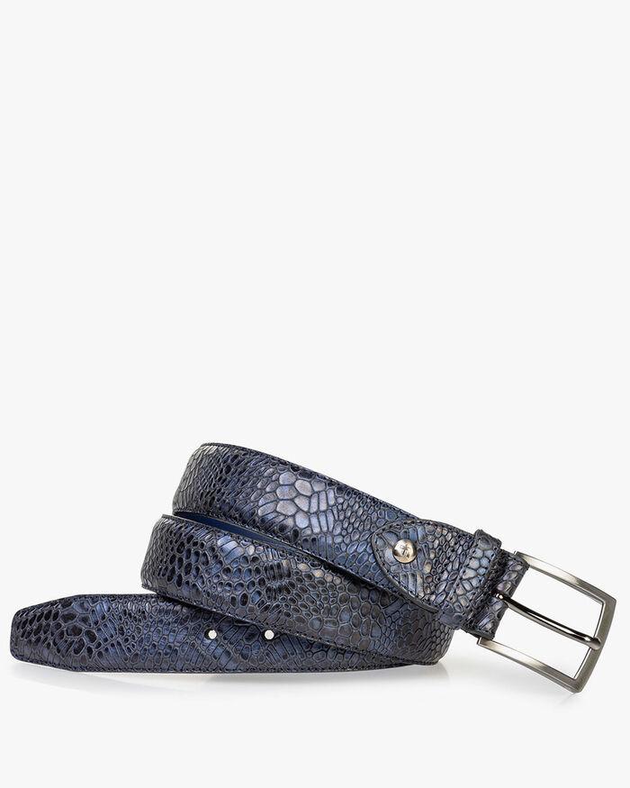 Ledergürtel metallic blau