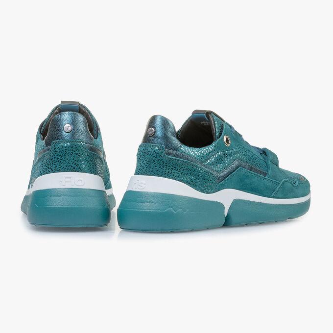 Blauer Wildleder-Sneaker mit Metallic-print