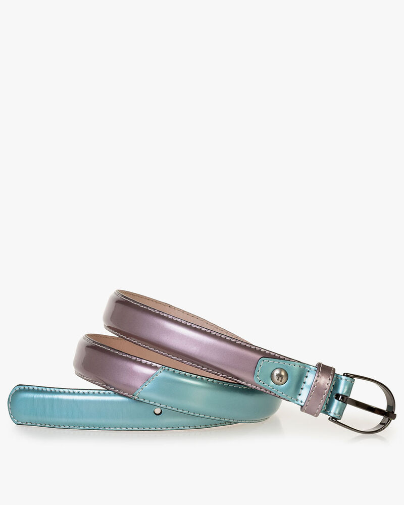 Belt patent leather light blue