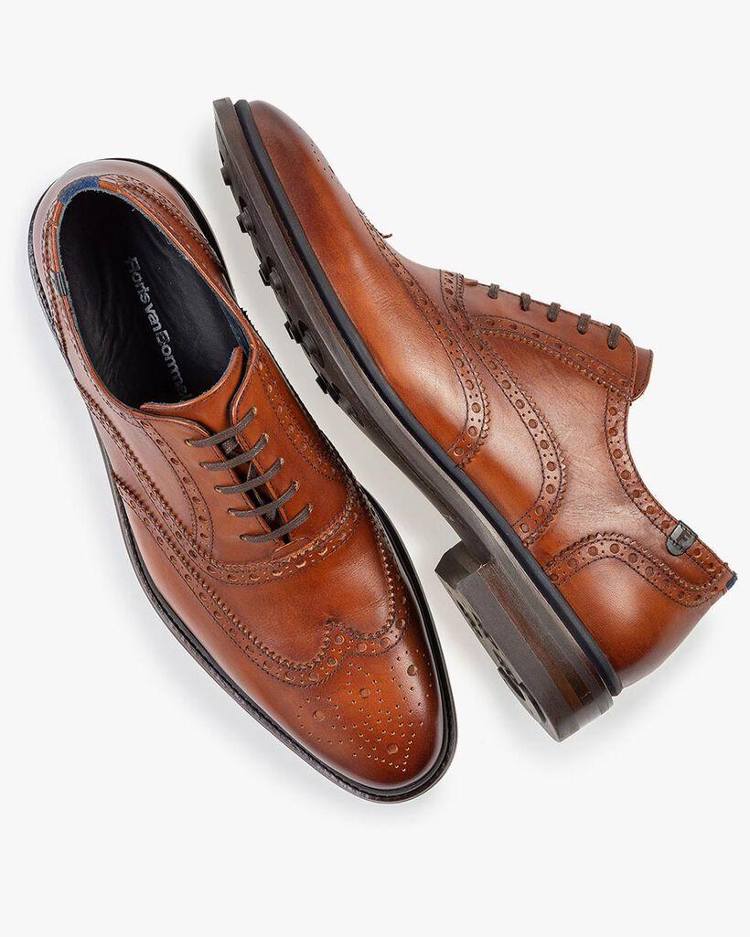 Brogue calf leather cognac