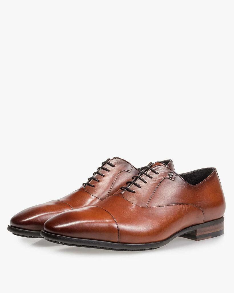 Dark cognac-coloured calf leather lace shoe