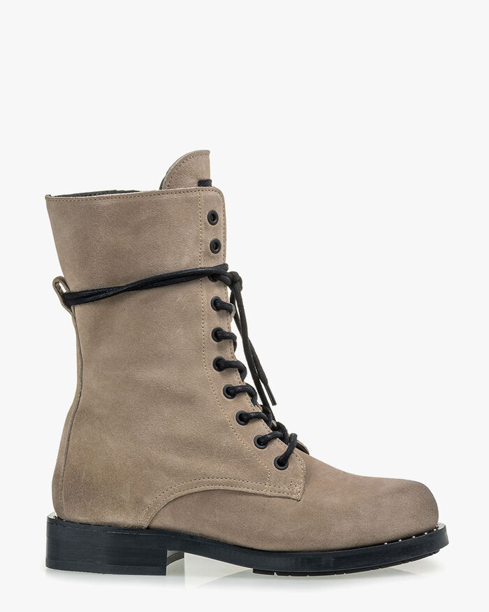 Lace boot suede beige