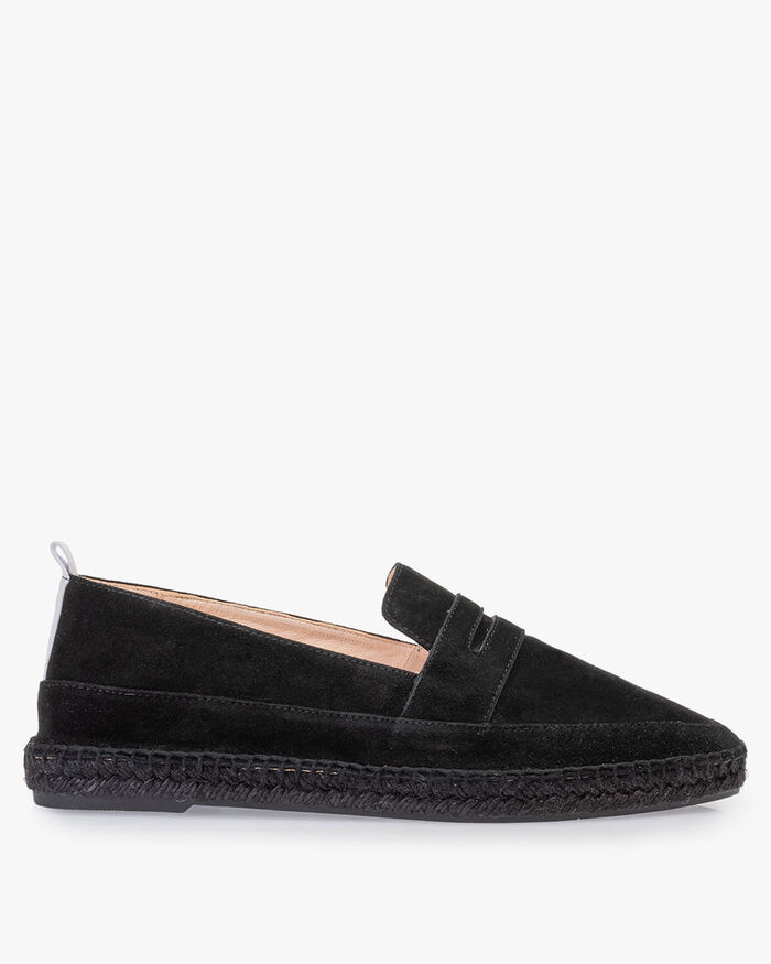 Espadrille suede leather black