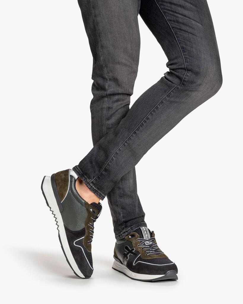 Sneaker Wildleder dunkelgrün/schwarz