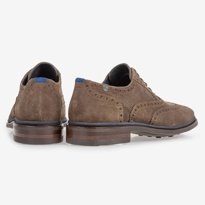 Brogue suede leather dark taupe