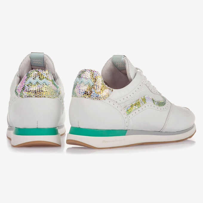 White leather sneaker with metallic details