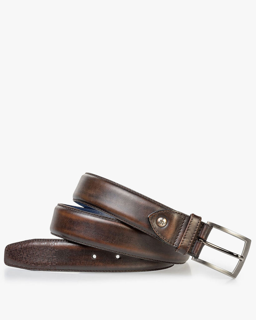 Leather belt brown with laser-cut print