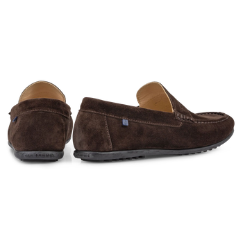 Moccasin suede leather dark brown
