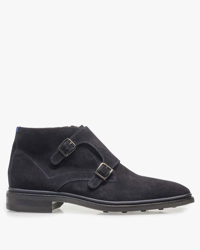 Dark blue calf leather monk strap