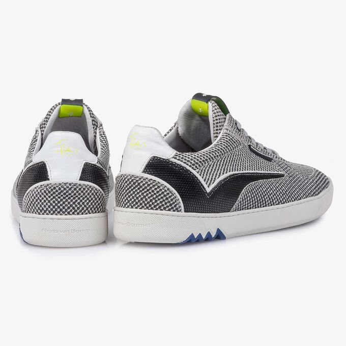 Grey suede leather sneaker with a print