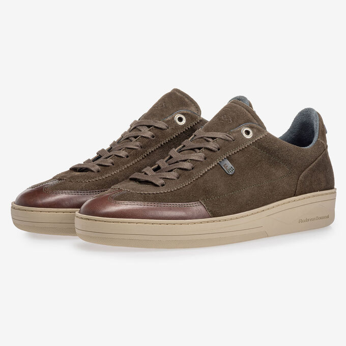 Sneaker suede leather dark green