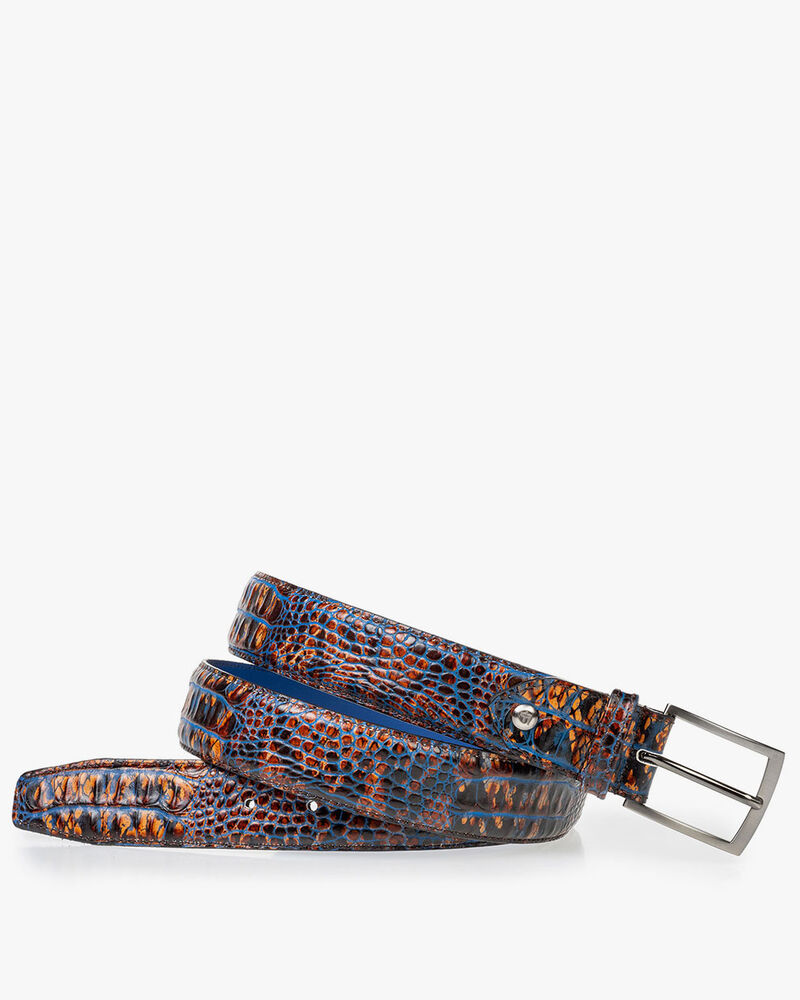 Leather belt croco print cognac