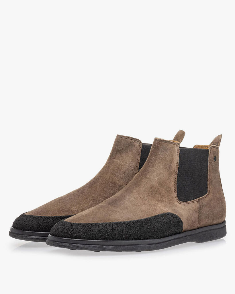 Suede leather Chelsea boot taupe