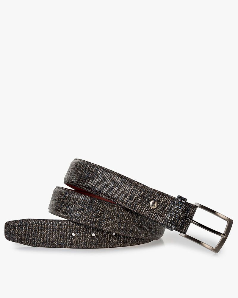 Belt printed leather taupe