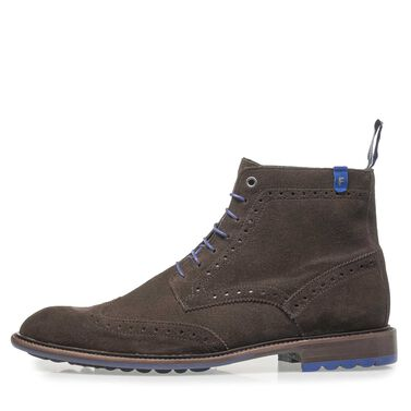 Suede leather brogue lace boot