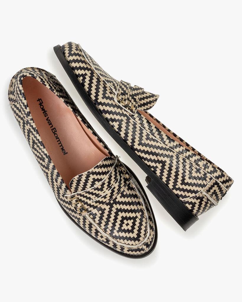 Loafer Leder mit Print schwarz-weiß