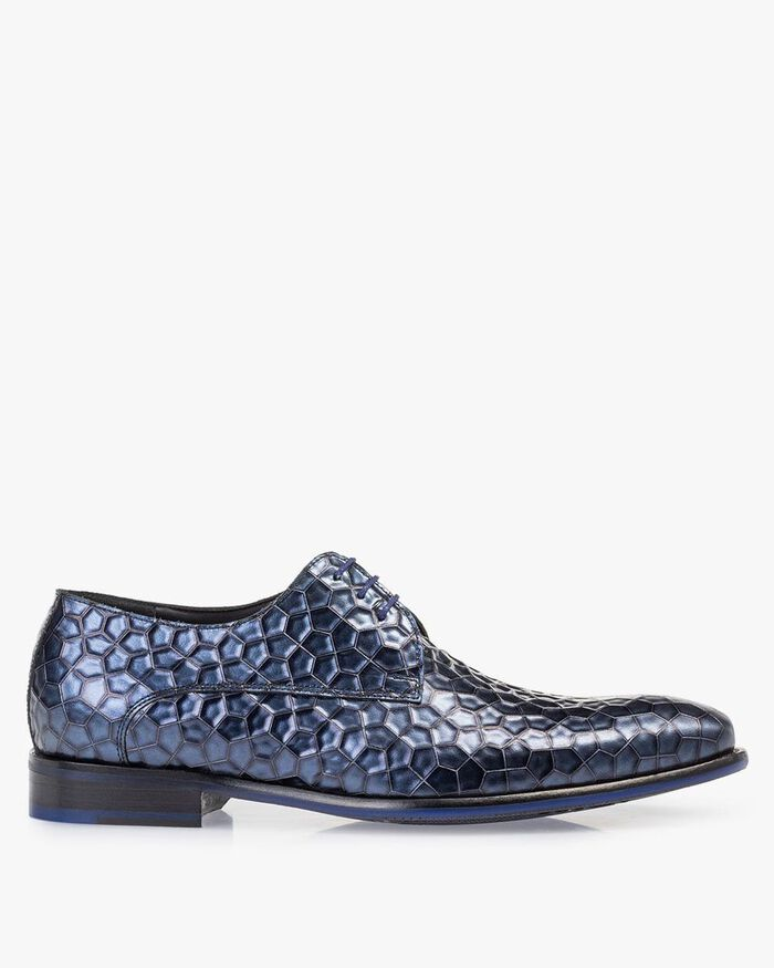 Lace shoe metallic print blue
