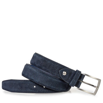 Suede leather belt dark blue with print